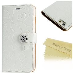 Mavis's Dairy Rose Wallet Case for iPhone 6/6sPlus New!!! iPhone 6s Plus Case ,Mavis's Dairy 3D Handmade special shiny Bling Diamond Rose folia Claps design Pattern leather Credit Card slots wallet case With hand wrist strap.(A2) Mavis Accessories Phone Cases