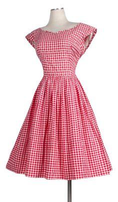 Vintage 50s Red White Gingham Plaid Full Skirt Dress w/Rhinestones