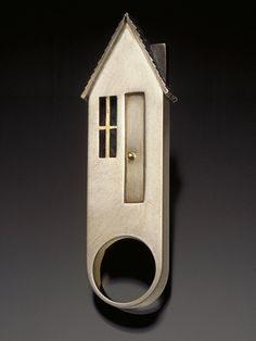 House Ring by Leslie macInnes one-of-a-kind hand fabricated/cast roof sterling silver, brass, nickel silver