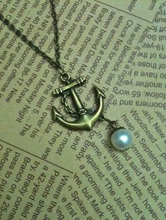 Antique bronze anchor charm necklace with pearl $6.00