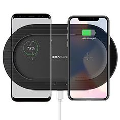 678becb6887 Dual Wireless Charger Pad Qi for iPhone & Android Adapter Not Included Black