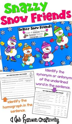 A winter craftivity featuring synonyms, antonyms, and homographs! An engaging language activity that makes a great winter bulletin board!