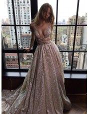 Dressywe Sexy V-Neck Sleeveless Prom Dress 2016 Long Sequins