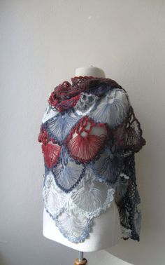 Hand crochet triangle lace shawl wrap in by KnitAndWedding on Etsy, $88.00