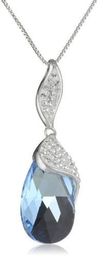 """Carnevale Sterling Silver Blue Briolette with Swarovski Elements Pendant Necklace, 18"""" Amazon Curated Collection, http://www.amazon.com/dp/B005NGUOKC/ref=cm_sw_r_pi_dp_py0crb0XWSXYX"""