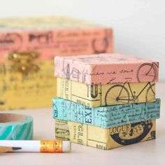 Vintage Washi Boxes Project by Vanessa Spencer Tapas, Small Gifts For Friends, Altered Cigar Boxes, Paper Mache Boxes, Pinterest Crafts, Decorative Tape, Tape Crafts, Diy Crafts, Paper Tape