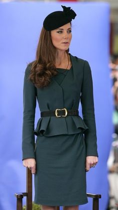 Kate wore this peplum skirt suit by L.K. Bennett and a James Lock hat during a visit to Leicester, England. via @AOL_Lifestyle Read more: http://www.aol.com/article/2015/03/06/kate-middletons-style-transformation-all-of-her-best-royal-loo/20642964/?a_dgi=aolshare_pinterest#slide=12118|fullscreen