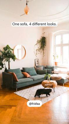 Living Room Seating, Boho Living Room, Small Living Rooms, Living Room Sofa, Interior Design Living Room, Bohemian Living, Cozy Living, Townhouse Living Room Decor, Living Room Decor Green Couch