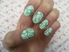 Mint green paisley nail art!