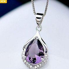 Beatiful 3ctw Purple Zircon W/925 Silver Necklace