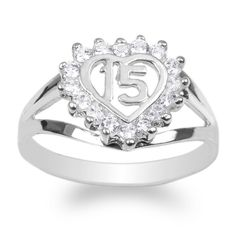 JamesJenny Ladies 10K White Gold 15 Anos Quinceanera Beautiful Heart Ring Size 7.5. Gem size 1.75 mm. 10K White Gold. High quality cubic zirconia. High Polished. Free Shipping.