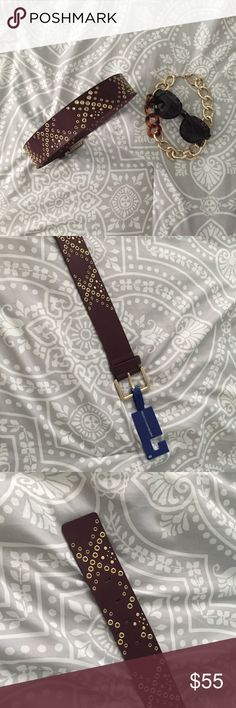 """NWT Rebecca Minkoff Burgundy belt gold accents XS NWT Rebecca Minkoff Burgundy belt with gold accents Size XS  Chic Burgundy leather with gold grommets and buckle. Another one from my sister's exceptional closet. Measurements: Leather part is 35"""", 5 holes first one is at 28"""" last is at 32"""". Rebecca Minkoff Accessories Belts"""