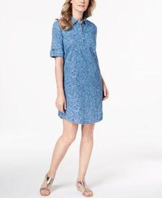 e7aaca11b2 Karen Scott Cotton Chambray Shirtdress, Created for Macy's & Reviews -  Dresses - Women - Macy's