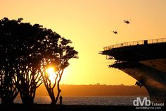 San Diego, California, USA | dMb Travel - Travel with davidMbyrne.com | The USS Midway at sunset on Harbour Drive on San Diego Bay. San Diego, California, USA.