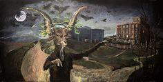 """ENRIQUE MARTY: Pintura para el muro. Inspirado en """"El aquelarre"""" de Goya con la casa de José Lázaro al fondo"""