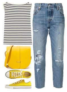 """""""yellow like the sun"""" by ecem1 ❤ liked on Polyvore featuring Converse, Yves Saint Laurent, The Cambridge Satchel Company and Levi's"""