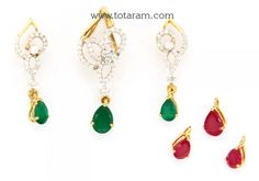18K Gold Diamond Pendant & Earring Set with Color Stones - DPS099 - Buy this Indian Jewellery Design from Totaram Jewelers for a low price of $1,110.99
