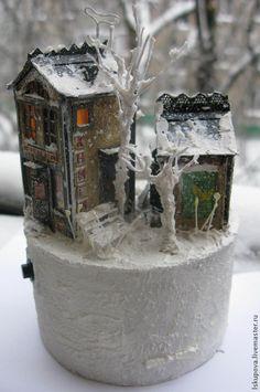 Кукольный дом ручной работы. Ярмарка Мастеров - ручная работа. Купить Зимний дворик3. Handmade. Миниатюра, Новый Год, акрил