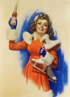 Pepsi Ad with ice skating pinup illustrated by Zoe Mozert.