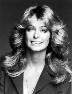Farrah Fawcett's fabulously feathered 70s hair