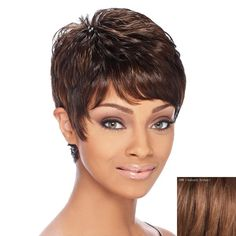 Fluffy Curly Spiffy Short Capless Elegant Inclined Bang Women's Real Natural Hair Wig #>=#>=#>=#>=#> Click on the pin to check out discount price, color, size, shipping, etc. Save and like it!