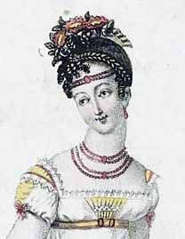 Hair Style Fashion 1801... Hairstyles, Head-dresses & Jewelry 1801 JEWELRY: Simple pearl or bead necklaces cameos classical style earrings finish the ensemble Bandeaus in the hair or on the forehead Tiaras in neo-Classical styles Jewels with neo-classical motifs and designs were very fashionable
