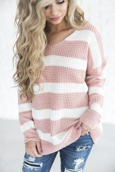 Rose Stripe Sweater - Mindy Mae's Market  \  chunky knit sweater, outfit, ripped jeans, distressed denim, striped sweater, cute, outfit idea, fall outfit, shop, pink