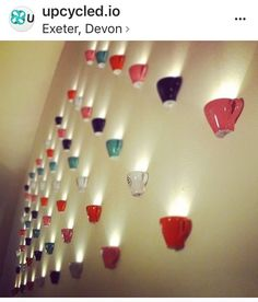 Voted as cutest pin on this board by frenz. Upcycled Cup Wall Lights | #UpcycledCups | #UpcycledLighting