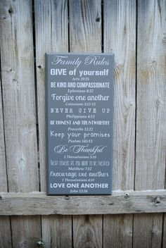 HOLIDAY GIFT Personalized Christian Family Rules Sign, Biblical verses, Home Decor wood typography sign, subway style house rules sign
