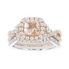 Two Hearts® Morganite and Diamond Ring in Two Tone Gold, 1 1/10ctw