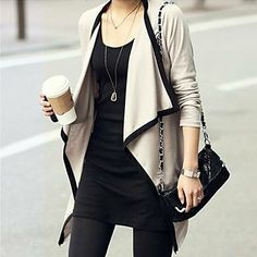 Soooo my style.Draped Open-front Cardigan - With Drape Shawl Collar Fall Outfits, Casual Outfits, Cute Outfits, Women's Casual, Work Outfits, Casual Wear, Looks Style, Style Me, Black And White Outfit