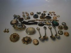 VINTAGE TO NOW CAMEO LOT NECKLACES BRACELET EARRINGS LOOSE BROOCH PINS SPOONS