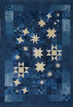 Star Filled Night 40 X 58 By Judy Eselius Cover To White Quiltsblue
