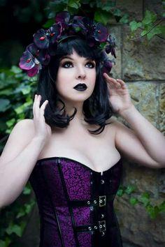 """Gothic"" — Photographer: Photography by Leena Model: San Da Romantic Goth, Dark Beauty Magazine, Gothic Models, Victorian Goth, Girls Gallery, Gothic Girls, Gothic Beauty, Hair Piece, Violet"