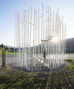 """The bus stop created by Japanese architect Sou Fujimoto in Austria has been closed because it doesn't """"follow the Austrian regulations for building safety""""."""