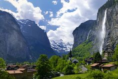 Lauterbrunnen Valley National Park Switzerland. Regarded as one of the most beautiful spots in the Alps, Lauterbrunnen has roughly seventy-two waterfalls beset against timeless cliffs.  Aside from the glacial waterfalls, the mountains themselves are breathtaking to behold.