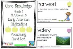 Core Knowledge (CKLA) Grade 1 Domain 5 Early American Civilizations Vocabulary Card Set