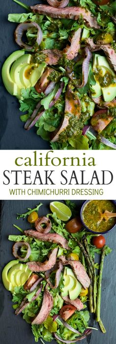 A paleo California Steak Salad filled with grilled onions, arugula, avocado, asparagus, charred Steak and covered in zesty Chimichurri Dressing. Fresh, light, high in protein and freakin delicious! You need this! | joyfulhealthyeats.com #glutenfree #paleo