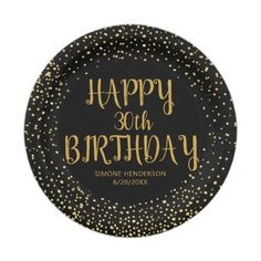 Happy Birthday Gold Glitter Any Year Custom Black Paper Plate - glamour gifts diy special unique Happy Birthday Sweet 16, Happy Birthday Printable, Glitter Confetti, Gold Glitter, Birthday Name, 25th Birthday, Birthday Celebration, Black Paper, Sweet 16 Parties
