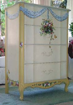 Painted dresser with trompe l'oeil effect from artist Marsha Bowers of Zulim Bowers Designs Hand Painted Dressers, Hand Painted Furniture, Paint Furniture, Plywood Furniture, Repurposed Furniture, Shabby Chic Furniture, Shabby Chic Decor, Furniture Makeover, Vintage Furniture