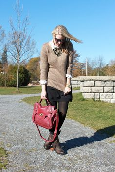 fall business casual. i'm going to attempt the sweater-over-button-down thing, with SKIRT not pants