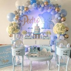 Good morning with this cute baby shower in elephant theme ! Baby shower p . Baby Shower Table, Baby Shower Party Favors, Boy Baby Shower Themes, Baby Shower Centerpieces, Baby Shower Parties, Baby Boy Shower, Baby Shower Invitations, Decoracion Baby Shower Niña, Its A Boy Balloons