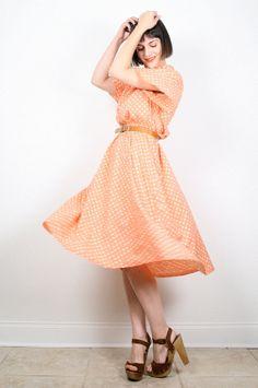 Vintage Peach Dress Midi Dress Flutter Sleeve by ShopTwitchVintage #vintage #etsy #80s #1980s #secretary #midi #day #dress #peach #pastel