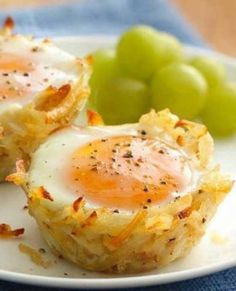 Recipe for Egg Topped Hash Brown Nests - Try this new delicious take on breakfast – kids and adults alike will love this way to eat their eggs and potatoes!