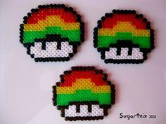Conjunto de setas de Mario Bros rastafari mini como broche, colgante para el cuello o llavero. Si te gustan puedes adquirirlas en nuestra tienda on-line: http://www.sugarshop.eu