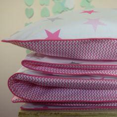 100-COTTON-Cot-Bed-Duvet-Cover-Set-Girls-Grey-Pink-Stars-Mini-Chevron-piping