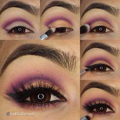 Easy step by step purple cut crease makeup