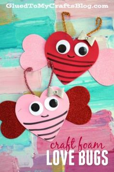 Valentine Art Project Ideas Using Craft Foam Hearts - Glued To My Crafts Valentine Love, Toddler Valentine Crafts, Valentines Day Activities, Valentine Day Crafts, Toddler Crafts, Craft Activities, Saint Valentine, Valentine Ideas, Valentine Decorations