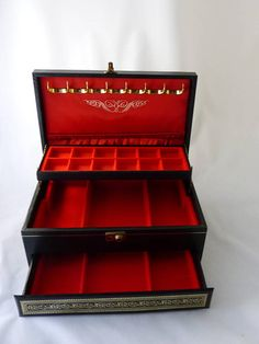 Mele Jewelry Box Black Leather With Gold Trim Red Velvet