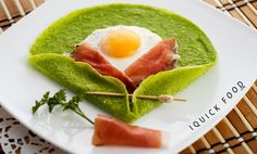 Sunny Side Up Spinach Crepes are a quick and delicious way to start the day. Check out our quick recipe and get your cooking on. Quick Recipes, Quick Meals, Healthy Recipes, Healthy Meals, Prosciutto, Pork Chops, Crepes, Bon Appetit, Avocado Toast
